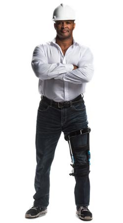 Construction worker with knee brace